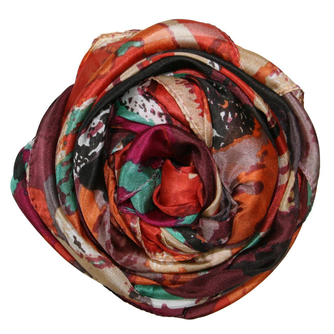 Different Strokes Print Silk Scarf in Orange - Subtle Luxury
