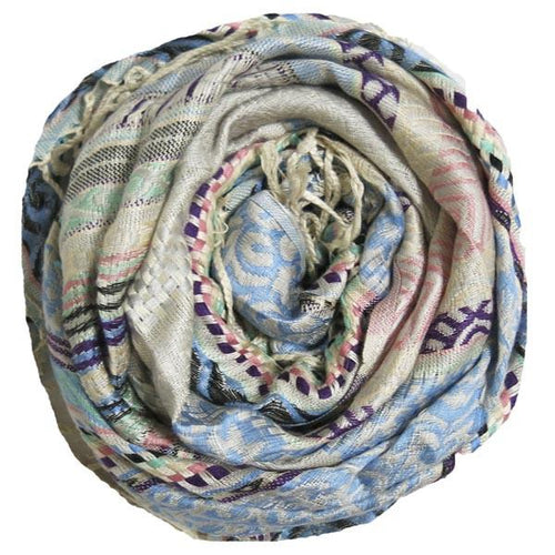 Embroidered Pastel Scarf in Sky - Subtle Luxury