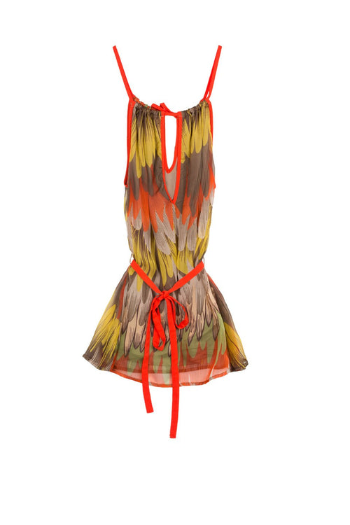 Tie Back Halter Top in Feather Strokes Print by Subtle Luxury - Subtle Luxury