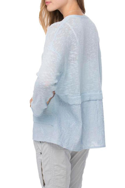 Back Panel Sweater in Sky - Subtle Luxury