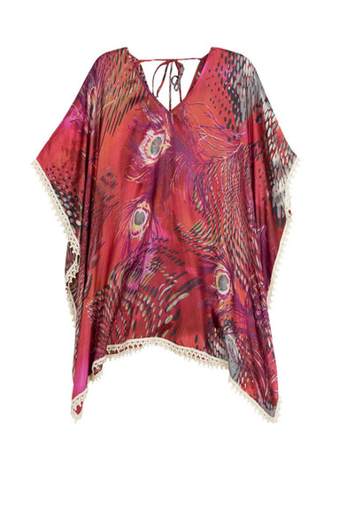 V-Neck Pool Kaftan in Pink Peacock Red