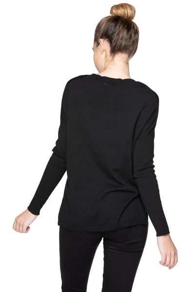 "Jane Drop Shoulder Crew in Black ""Let Love In"" Embroidery - Subtle Luxury"
