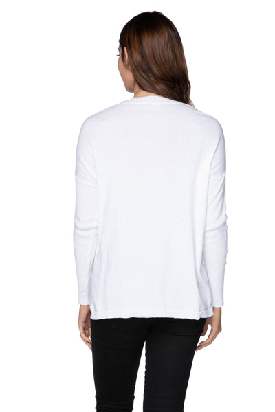 "Jane Drop Shoulder Crew in White ""Sunshine"" Embroidery"