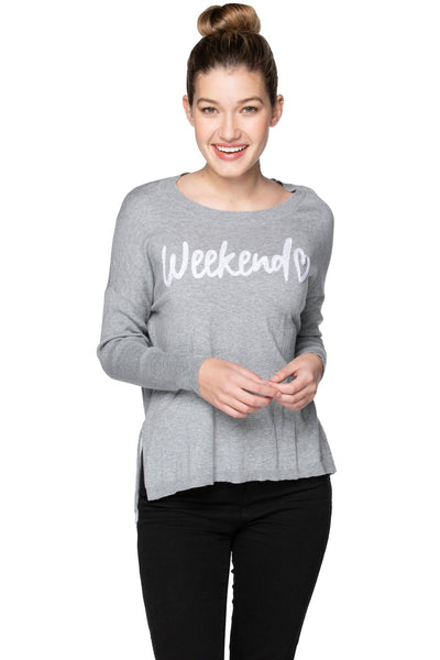 "Jane Drop Shoulder Crew in Smoke ""Weekend"" Embroidery"
