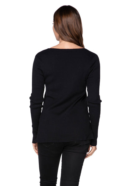 "Eve Zen Blend Crew ""Choose Happy"" embroidery in Black/Surf"