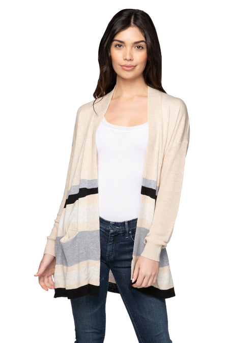 100% Cashmere Cocoon Shawl Jacket in Glass Grey Stripe