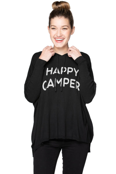 "Zen Blend Reese Hoodie Pullover with ""Happy Camper"" Embroidery - Subtle Luxury"