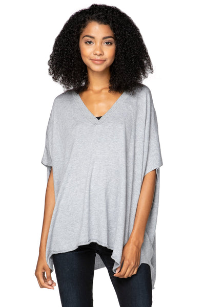 Luisa V-Neck Poncho in Smoke - Subtle Luxury