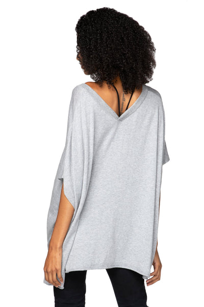 Luisa V-Neck Poncho Sweater with loose fit and short sleeves- Subtle Luxury