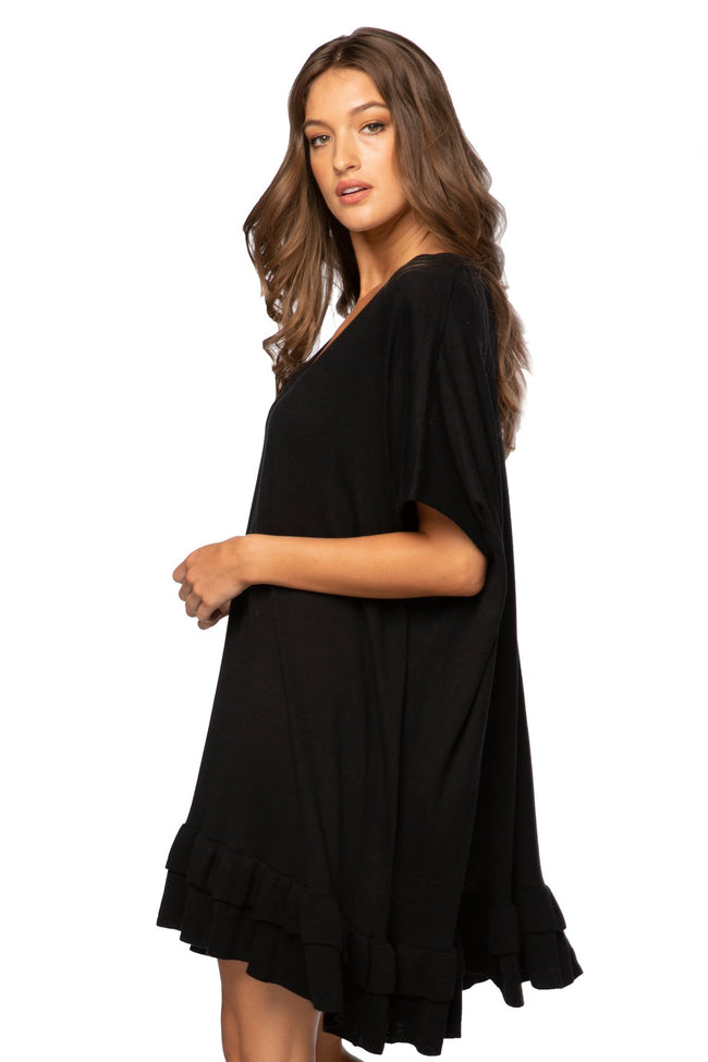 Cathy V-Neck Ruffle Dress in Black - Subtle Luxury