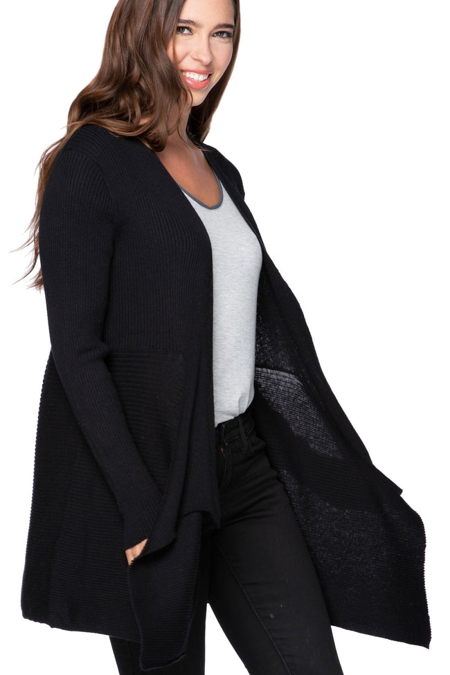 Joy Ribbed Cardigan in Black - Subtle Luxury