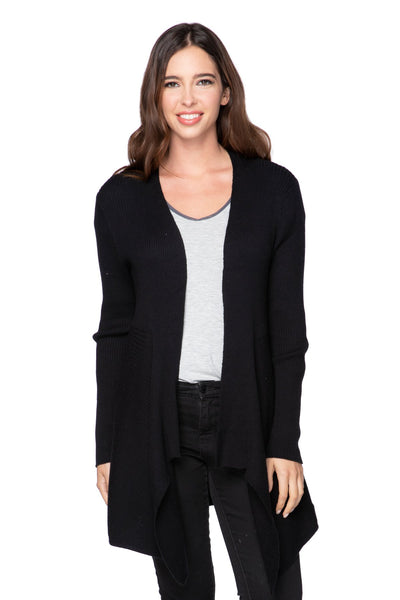 Joy Ribbed Cardigan in Black