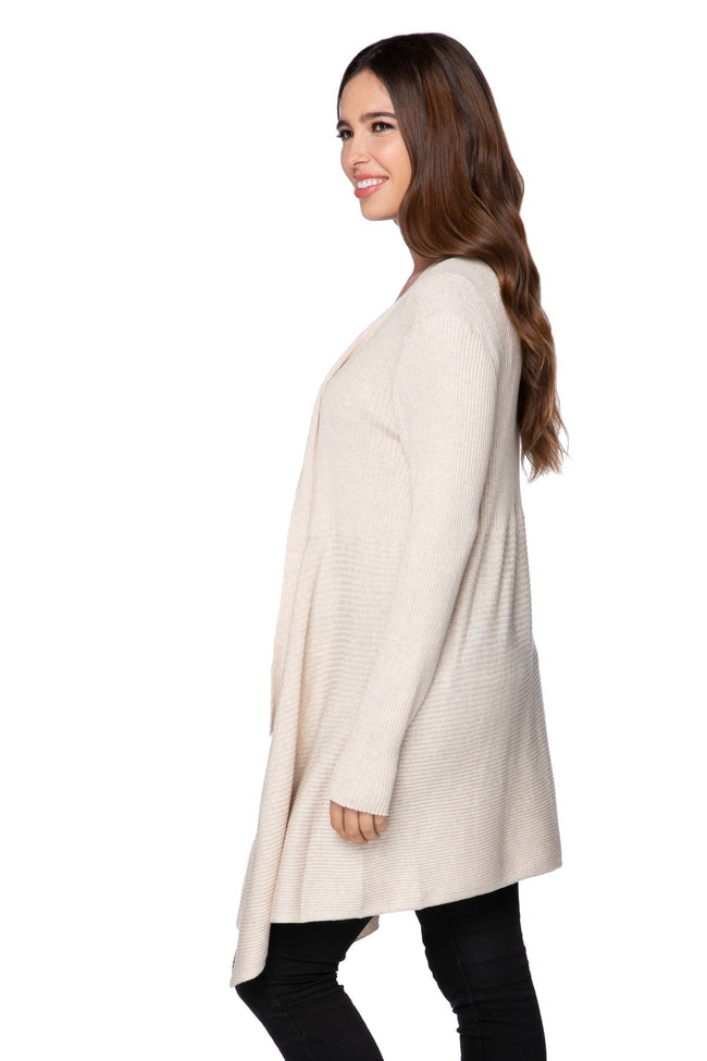 Joy Ribbed Cardigan in Oat - Subtle Luxury