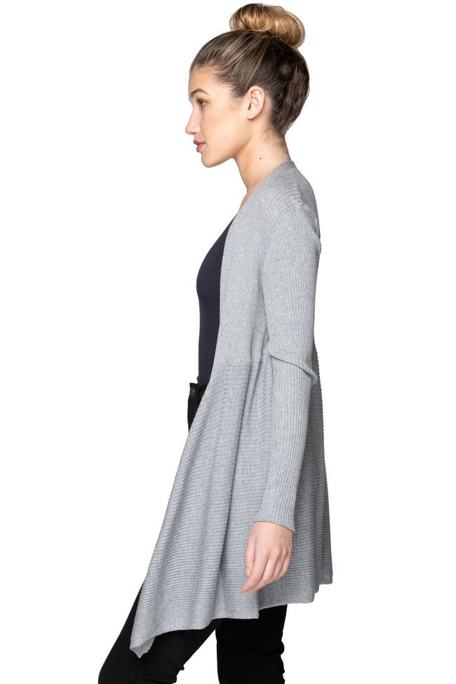 Joy Ribbed Cardigan in Smoke - Subtle Luxury