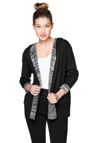 Maddie Hoodie Cardigan in Black w/Smoke