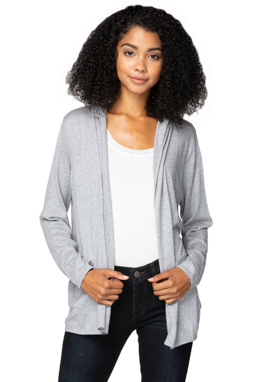 Zen Luna Hoodie in Smoke | lightweight swing jacket with pockets - Subtle Luxury