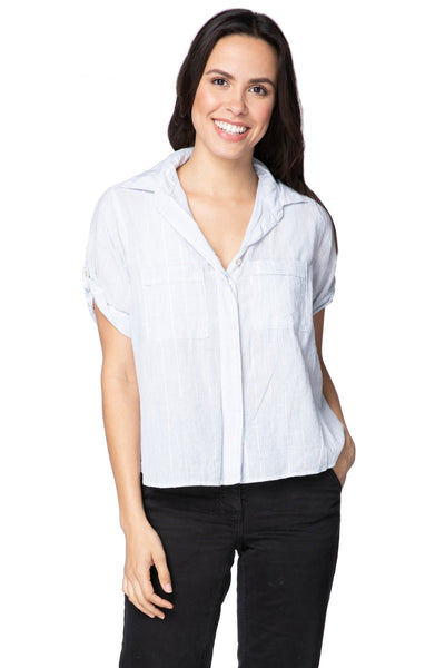 Anne Button Up in Cotton Shirting - Stripe w/Lurex - Subtle Luxury