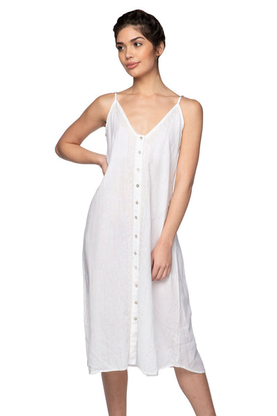 Aubrey Midi Dress in White w/ Lurex