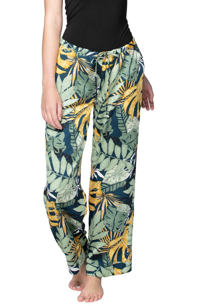 Bailey Beach Pant in Leafy Palms - Subtle Luxury
