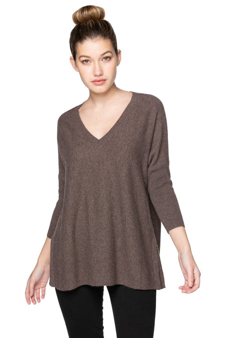 100% Cashmere Loose & Easy Crew Sweater in Marble