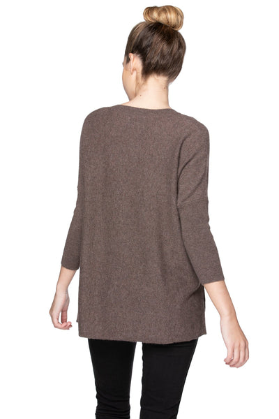 100% Cashmere Button Down V-Neck Pullover in Ermine - Subtle Luxury