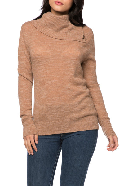 100% Cashmere Cascade Turtle Neck in Sandalwood - Subtle Luxury