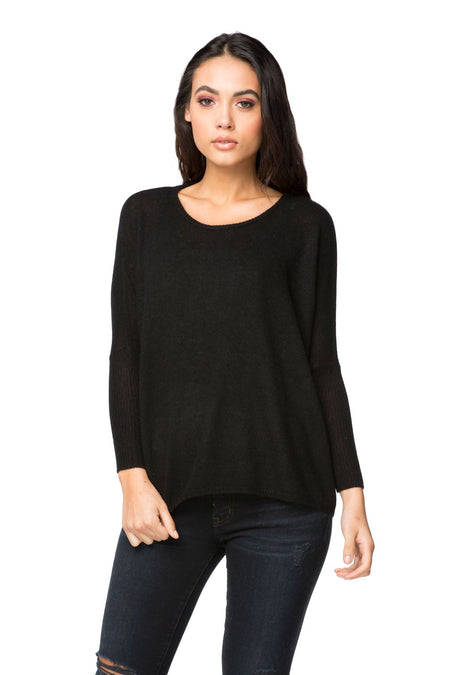 Luisa V-Neck Poncho in Black/Surf