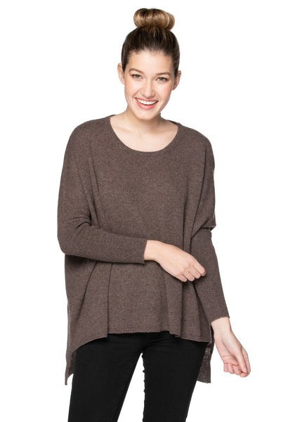 100% Cashmere Loose & Easy Crew Sweater in Ermine - Subtle Luxury
