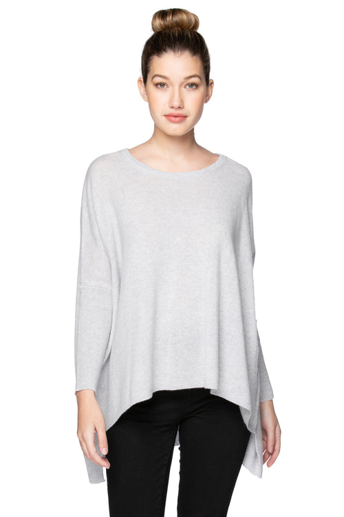 100% Cashmere Loose & Easy Crew Sweater in Glass Grey