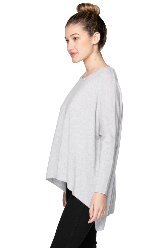 100% Cashmere Loose & Easy Crew Sweater in Glass Grey - Subtle Luxury