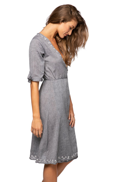 Cross Over Midi Dress in Charcoal