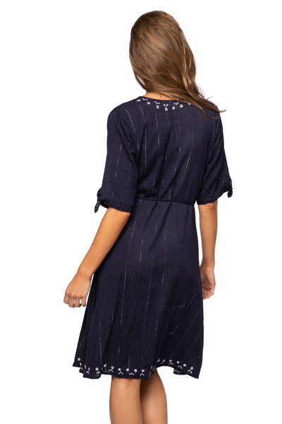 Cross Over Midi Dress in Dark Denim with Silver - Subtle Luxury