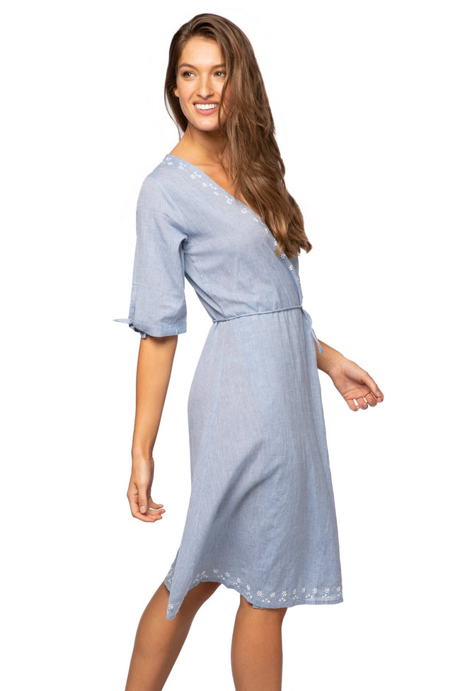 Cross Over Midi Dress in Denim - Subtle Luxury