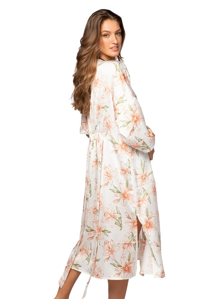 Bed to Brunch Kimono in Painted Lillies - Subtle Luxury