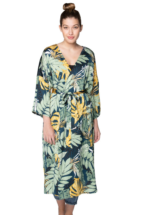 Bed to Brunch Kimono in Leafy Palms - Subtle Luxury