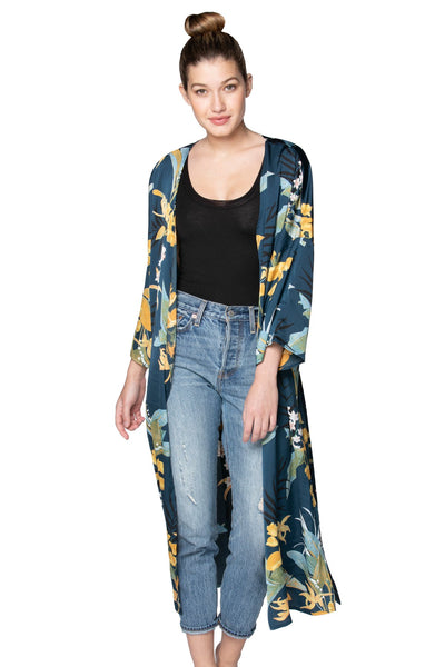 Bed to Brunch Kimono in Tropical Garden - Subtle Luxury