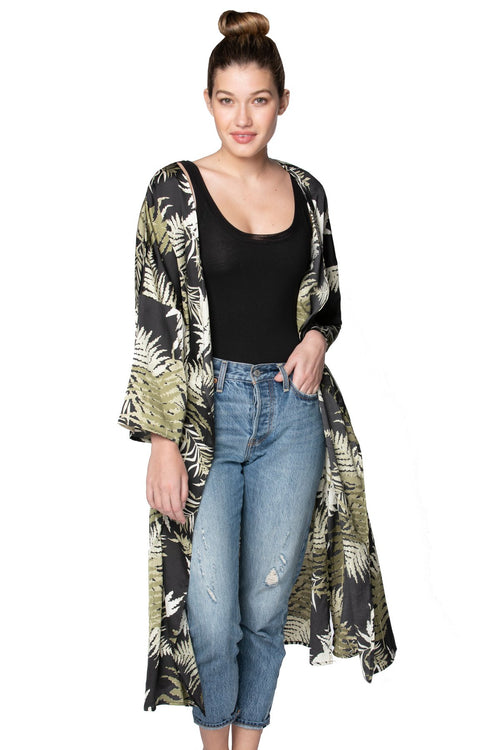 Bed to Brunch Kimono Robe in Bold Ferns