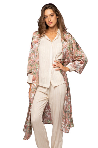 Bed to Brunch Kimono Robe in Fade to Pink - Subtle Luxury