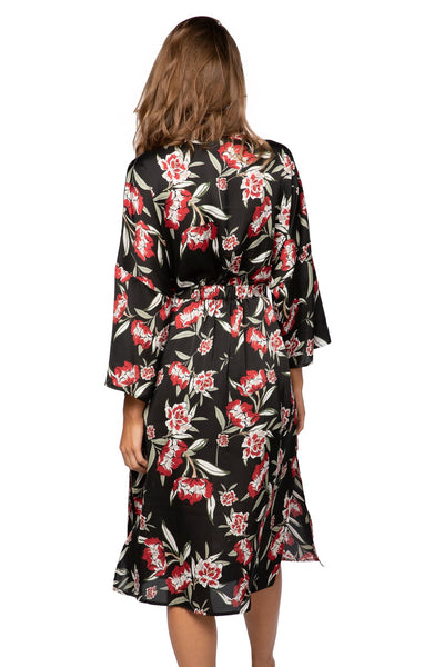 Bed to Brunch Kimono Robe in Rosy Print