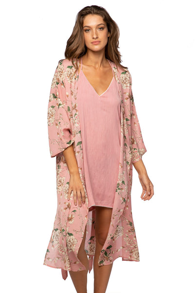 Bed to Brunch Kimono Robe in Peony Petals - Subtle Luxury