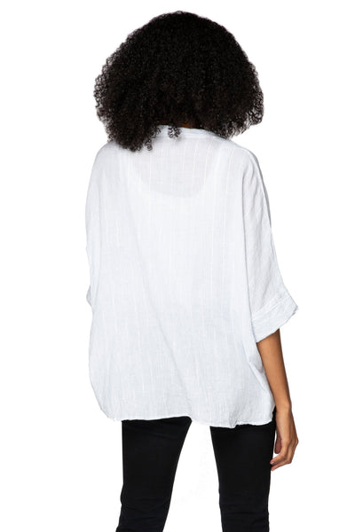 Kelly Easy T in Cotton Shirting - Stripe w/Lurex - Subtle Luxury