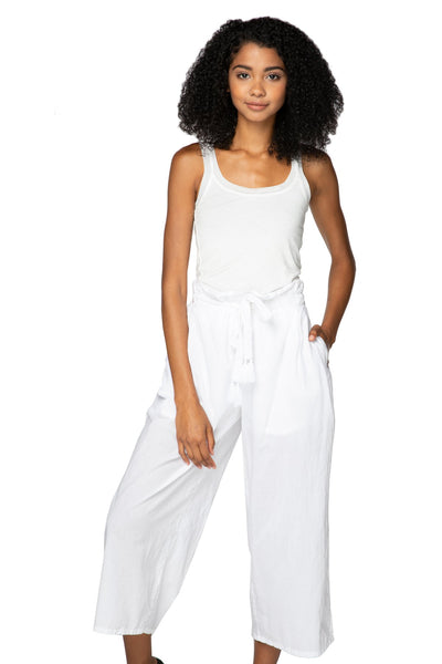 Enchanter's Pant in White | paper bag high waist, wide leg, eyelet waistband tie - Subtle Luxury