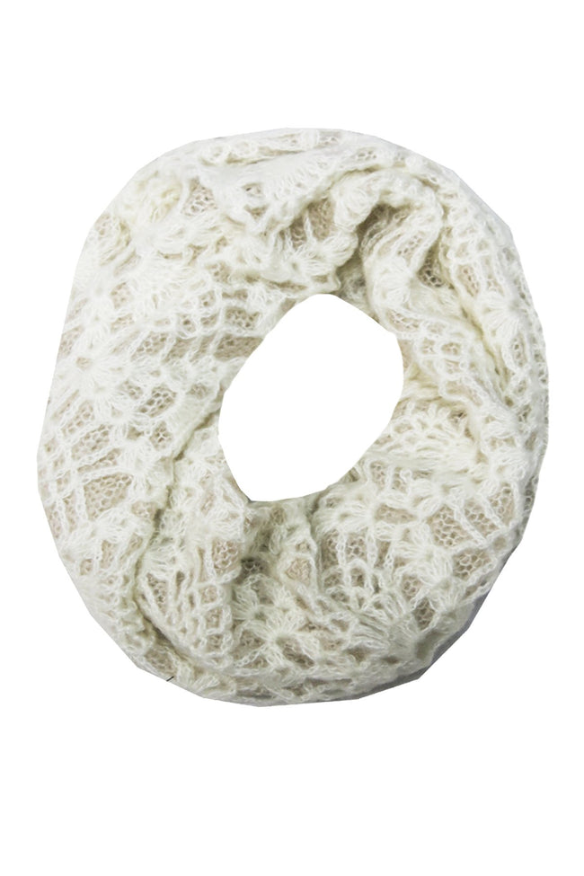 2-Tone Lace Crochet Infinity Scarf - Subtle Luxury