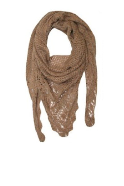 Hand Knit Triangle Open Weave Scarf in Taupe by Spun - Subtle Luxury