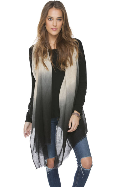 100% Cashmere Luxury Wrap | Ombre Scarf hand dyed in Cream/Black - Subtle Luxury