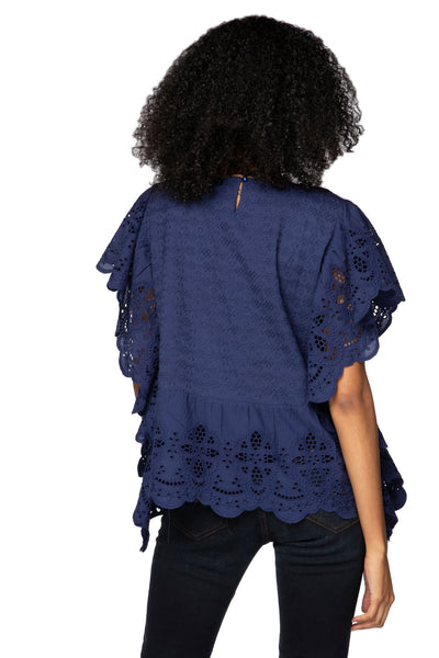 Cotton Eyelet Ruffle Fae Crop Top in Indigo - Subtle Luxury