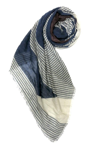 Castaway Stripe Printed Scarf in Navy