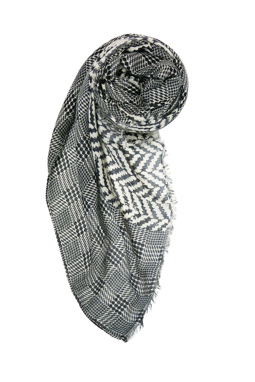 Chevron Border Printed Spun Scarf - Subtle Luxury