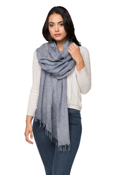 100% Cashmere Luxury Scarf | New York Parkway hand painted in Tide - Subtle Luxury