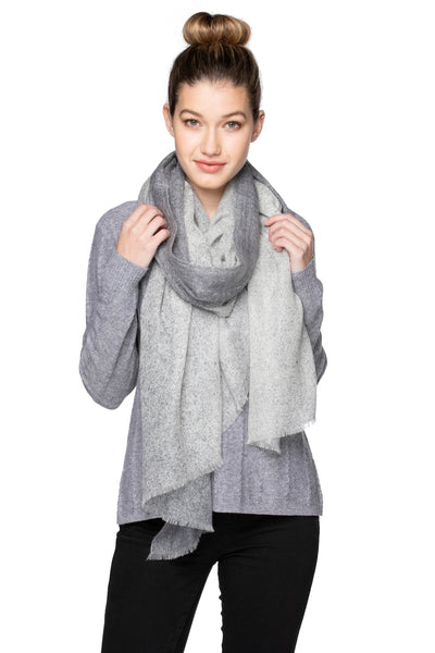 100% Cashmere Luxury Wrap Aspen Scarf in Light Grey/Nite